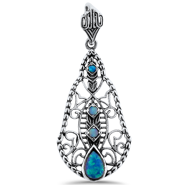 Lab Created Blue Opal Filigree Pendant, Sterling Silver