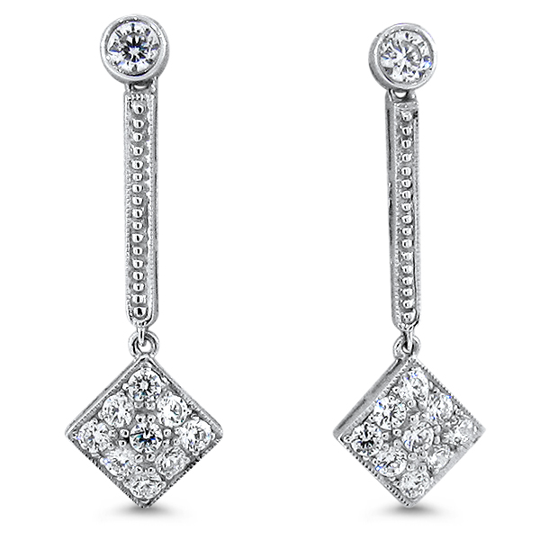 Antique Art Deco Style Cubic Zirconia Earrings, Sterling Silver