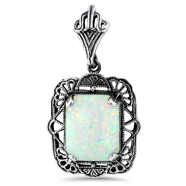 Antique Style Lab Created Opal Pendant, Sterling Silver